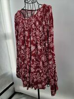 Knox Rose Womens Red Long Sleeve Round Neck Floral Pullover Blouse Top Small