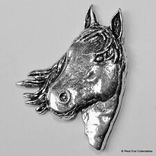 Horse Head Pewter Brooch Pin - British Artisan Signed Badge -  Equestrian Pony