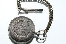 Antique Mid Sized Open Face Swiss Fine Silver Pocket Watch w/ Gun Shaped Key