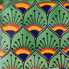 "One Handmade Mexican Tile Sample Talavera Clay 4"" x 4"" Tile C154"