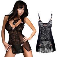 Sexy Dress Lingerie Underwear Babydoll Sleepwear G-String Plus Size Lace Womens