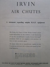 6/1947 PUB IRVING AIR CHUTE IRVIN PARACHUTE RAF EQUIPMENT ORIGINAL AD