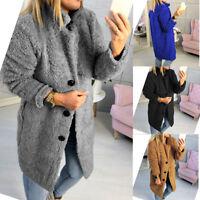 Women's Winter Warm Fluffy Coat Long Knee Jacket Teddy Bear Button Outwear Parka