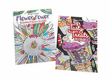 Flower Power and Tasty Treats Adult Coloring Book Designer Series Books Set of 2