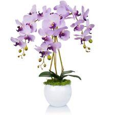 Orchidee in lila Phalaenopsis Künstliche Blumen silber Dekotopf Künstpflanze