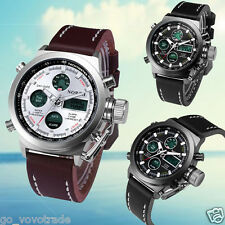 Luxury Mens Double Movement Alarm Army Quartz Stainless Steel Sport Wrist WatchA