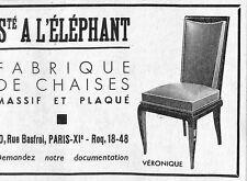 PARIS RUE BASTROL PUBLICITE STE A L' ELEPHANT FABRIQUE DE CHAISES 1950