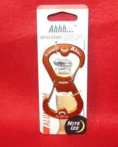 Nite Ize S-Biner Ahhh Aluminum Bottle Opener-Orange - Durable & Lightweight- NEW