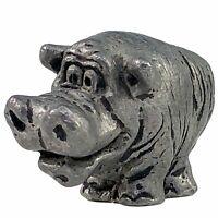 Hippo Pewter Figurine Miniature Hippopotamus Mini Cast Metal Noah's Ark Vintage
