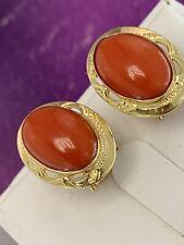 orecchini earrings  CORALLO rosso mediterraneo  CORAL solid gold ORO 18 KT-750°/