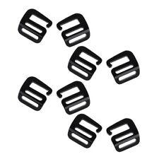 8Pcs 1'' Hook Outdoor Adjust Webbing Buckle Backpack Strap Belt Clip Black