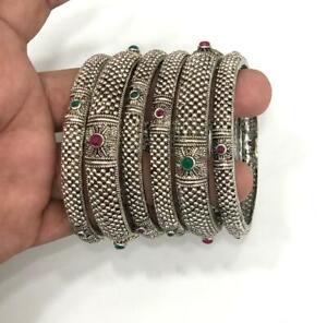 Indian Ethnic 6PC Silver Plated Kada Jewelry Pearl Bangles Bracelets Set Tanisqq