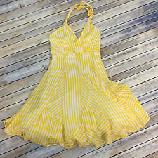 Mint Womens Halter Dress Yellow White Stripe Deconstructed Retro Pinup Sz 12 F30