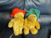 Set of 2 Paddington Bears Plush Stuffed Eden 1981