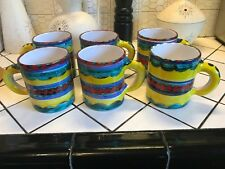 6 Unique Bullock's Hand Painted Large Ceramic Mugs Made in Italy HTF Rare Coffee