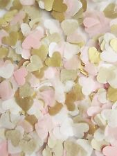 2000 Gold, Light Pink, White Tissue Paper Heart confetti Wedding for 2 cones