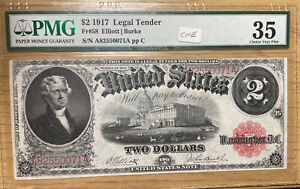 1917 $2 US Legal Tender Note * Red Seal *PMG 35 Choice Very Fine * Fr. 58