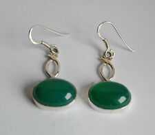 grüne Onyx Ohrringe in 925 Sterlingsilber, ovale Edelstein Ohrhänger liegend