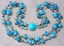 VINTAGE STUNNING TURQUOISE COLOR LUCITE TWO STRAND NECKLACE