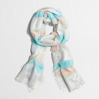 J.Crew Factory - NWT  - Aqua Blue Striped Cotton/Lurex Metallic Thread Scarf