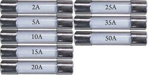 New mix glass fuses pack of 8, 30mm, 2A,5A,10A,15A,20A,25A,35A,50A, car van bike