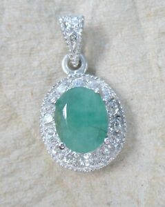 """NEW 925 Sterling Silver GENUINE Oval Green """"Emerald"""" & Cz HALO Pendant for Neck"""