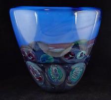 Michael Pavlik Large Studio Art Glass Decorative Blue Glass Vase