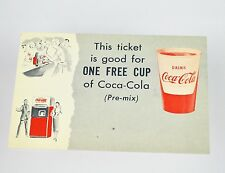 Belle ancienne Coca-Cola Coupon USA années 1950 - One Free Tasse of Pre-Mix
