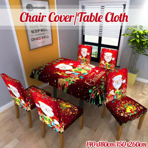 Christmas Dining Chair Cover & Table Cloth Slip Covers Xmas Party Tabl