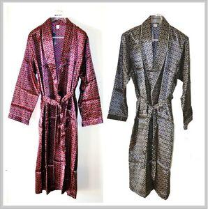 New Mens Silk blend Satin Bath Robe and Dressing Gown Navy & Burgundy Colour