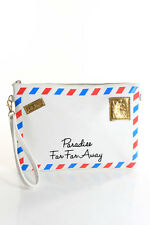 3AM Forever White Leather Gold Tone Chain Strap Paradise Crossbody Handbag