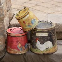 Roosters Chickens Nested Round Tin Canisters Lids Set 3 Farmhouse French Country