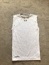 Euc Men's White Sleeveless Under Armour Compression Shirt Size Medium