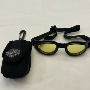 Harley Davidson Yellow Oval Eye Bendable goggles With Clip On Carry Case