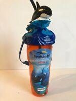 Sea World 2017 Shamu Orca Killer Whale Orange Plastic Souvenir Cup Handle Straw