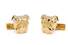 Dunhill Cufflinks Bulldog Head Gold plated Brass Metal Men's jewelry NEW