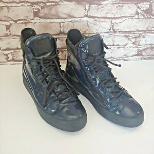 Giuseppe Zanotti High Top Patent Leather Navy Blue Zip Up Sneakers Shoes 8.5