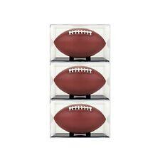 (3) BallQube Grandstand Football Display Case - 98% UV Protection - Black Base