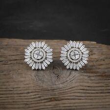 Women CZ Stud Earrings Cubic Zirconia Floral Earring Silver Plated Ear Jewelry