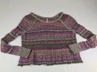 Free People Small S Wool Cotton Blend Purple Brown Lightweight Knit Sweater