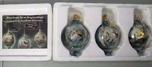 3 Bradford Lena Liu Porcelain Blue Jay Cardinal Yellow Finch Bird Ornament 68741