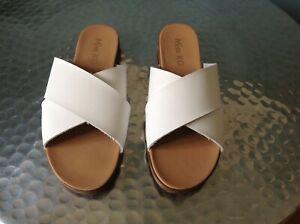 Ladies Miss KG By Kurt Geiger White Slip On Sandals Size 7 New !