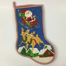 Vintage Quilted Christmas Stocking Santa Sleigh Reindeer Gifts Snow Candy Stripe