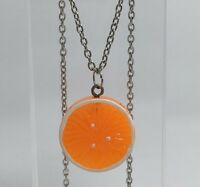 Large Orange Slice Fruit Pendant Necklace Kitsch Kitch Coloured  G116