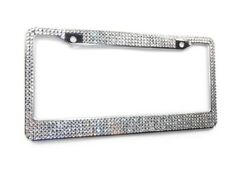 5 Row Clear Crystal Bling Rhinestone License Plate Frame Holder, W/Screw Caps