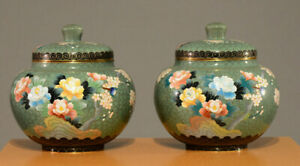 A Pair of Japanese Cloisonné Enamel Lidded Jars, Inaba Cloisonné Co. Marked.