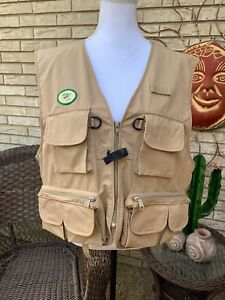 Men's L.L. BEAN Fly Fishing Vest Khaki Tan Poly/Cotton Blend Pockets Sz Large
