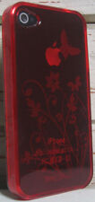 iPhone 4 Case (4 or 4S) Transparent Gel Case Cover  - Butterfly Flowers - Red