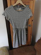 Warehouse Size 10 Black Stripe Stretch Dress (I4)