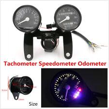 12V Universal Tachometer+Speedometer Dual Odometer Gauges For Motorcycle Bobber